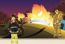 Firefighter Wall Mural / Firefighter Wall Mural - saving the world
