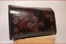 Leather-Bags, boxes, purses / Handcrafted leather, tooled with artistic impressions (relief), all comissioned work
