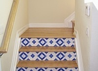 Faux Tile Border/Stair Risers / Stair Riser Decoration / by Casart Coverings