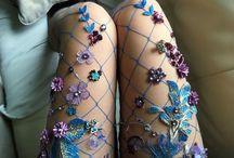 çiçekli file çoraplar