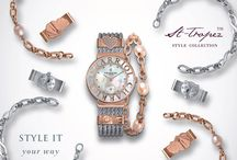 St-Tropez Style watch collection / Fall truly, madly, deeply in love with the new ST-TROPEZ Style, a new sophisticated way to tell the time…with a twist. This latest addition to the St-Tropez watch collection can be customized with interchangeable clips and bracelets to suit your mood or the style of the moment. Girls – don't be afraid to express yourselfand experiment with your beauty, in style!
