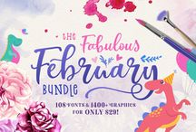 The Fabulous February Bundle / Possibly our biggest ever bundle, our latest Fabulous February Bundle is simply exceptional!! Jam-packed with 108 different fonts from 39 premium font families and over 1400 graphics elements, compositions, patterns, lettering art, watercolor kit and more from 13 graphics packs, all for the price of one! Get this amazing collection for ONLY $29 — that's a massive savings of $759!!