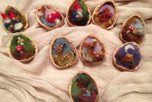 クルミの殻アート