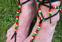 Rasta Style / Crop tops, barefoot sandals and tea cosies; all hand knitted with Rasta style in mind!