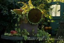 Herbstdekoration / Gartendekoration mit Sonnenblumen und Hopfen http://tantemalisgartenblog.blogspot.co.at/