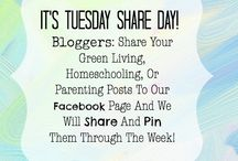 TUESDAY SHARE DAY / Every Tuesday is TUESDAY SHARE DAY on Young Earthy Mama's Facebook page. If you are a blogger, and have posts related to urban homesteading, homeschooling, natural living, or sustainability, you are welcome to share them on our wall! We try to share them on Facebook, and Pin them to Pinterest! Be sure to like our page, and check out the posts from other bloggers on our wall!