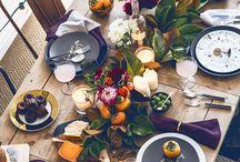 Autumn table serving