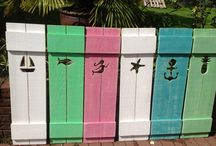 Shutters & House Number Signs by CastawaysHall / Exclusive, original cutout shutters and matching house number signs by CastawaysHall Beach House Style.....It's a State of Mind www.CastawaysHall.etsy.com