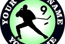 Customized Hockey Logo / Create your own Hockey logos with names, nicknames, anniversary dates, birthday on it to make iron-on transfers, decals stickers, patches, labels, etc. You also can change background, foreground, images inside the circles. No Minimum Order. If you have any ideas about the Hockey logos, give it a shot, you would like the logos which are involved with your thoughts.Customized Hockey Logo