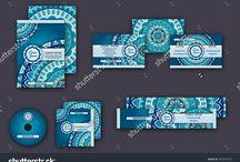 Business template set / Business template set with mandala pattern ethnic elements