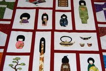 Quilt de japonesas de patchwork / colcha o quilt de patchwork realizado a mano, de motivos orientales