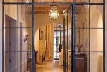 Metal and glass doors