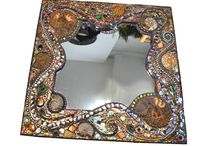 OLD - Mosaic Ammonite, shell & Peacock feather mirror…