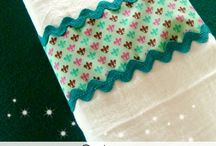 Tea towel ideas / Ideas for finishing dish towels / by Kathie Warner