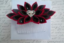 Kanzashi Flowers / Kanzashi flowers come from the traditional japenese art form called Tsumami Kanzashi.  These are handmade hair ornaments.