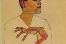 Egon Schiele / artista que trabaja con gouache