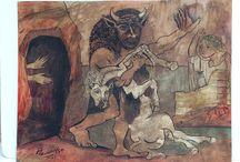 Minotauro con caballo muerto frente a la cueva de la niña con velo / Guauche, tinta china sobre carton de 50.4x56.6 cm firmado costado inferior izquierdo con año 1936