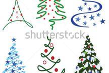 Weihnachtsbäume Deko malen