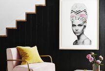 boho, retro, pink+mustard living room