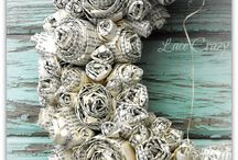 Paper WREATH - book pages