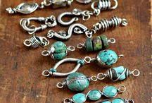 Turquoise and wire links by Cindy