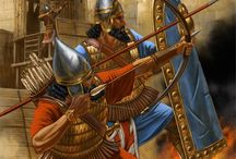 Ancient Middle Eastern History and Warriors / A table with images relevant to history, mainly military, of the area from the Mediterranean sea to India, from the 15th century BC up to the 5th century AD