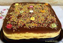 tartas de galletas, huesitos y chocolate