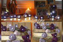 Guirlandes Lumineuses / Guirlande lumineuse avec fleurs en tissu et en toile de jute