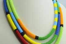 bead crochet / Long bead crochet rope neclace.