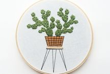 plant embroidery hoop