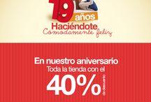 ¡Vive nuestro Aniversario #19! / Estamos celebrando nuestro aniversario #19. Del 01 de Julio al 15 de Agosto podrás disfrutar del 40% de descuento en todos nuestros artículos.