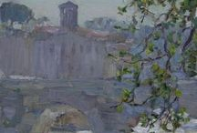 Painting / View of Tivoli from the terrace of Villa d'Este 2013. oil on canvas.