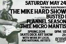 The Dark Slide Spring Skate Art Show 2014 / Various pictures, fliers, and posters for The Dark Slide 2014 Spring Skate Art Show Sat. May 24th at Eronel 285 Main St. Dubuque, IA.  Artists showing: Math.I, Mow Skwoz, Tony Willis Art, Jeff Mueller, Victor Cayro, Jan M Duschen, Carey Welch, Ryan Downs, Eric Hansel, Brianna Rae Manning, Ben Mackey, Jay Schleidt, Megan Bishop, Manda Moo Bollinger, Claire Thoele, Andrew Mark , & Scott Sjobakken MIke Hard Show (ex The God Bullies, Thrall, & They Never Sleep)