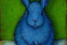 Синие звери, сиреневые, голубые, зеленые