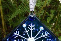 Fused Christmas ornaments / Square snow flake design
