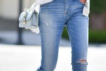 Wearing Jeans / Never tired of jeans, aren't you? Well, we're all lucky since jeans are so versatile! Outfits can go from plain basic casual white tee and denim, to some serious business regarding jeans ensembles with haute couture worthy pieces! Everything is possible!