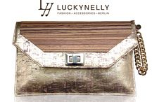 LYY-LUCKYNELLY HANDBAGS / LYY-LUCKYNELLY YELLOW CORK - IRIDESCENT LEATHERETTE CLUTCH  100 % VEGAN - 100 % STYLE   Made in Germany