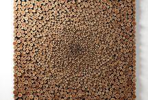 Schilderij van houten schijven