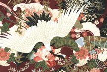 """Hyakkaryouran Sateen by Robert Kaufman / """"Hyakkaryouran Sateen 1"""", """"Hyakkaryouran Sateen 2"""", """"Hyakkaryouran Sateen 3"""", """"Hyakkaryouran Sateen 4"""", """"Hyakkaryouran Sateen 5""""·by Quilt Gate for Robert Kaufman Fabrics"""