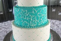 Wedding Cakes (colored) / Various cakes with colored frosting and colored designs