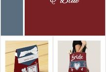 Wedding: deep red and blue