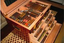 Open Humidors with Cigars