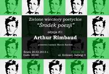 """""""Środek Poezji"""" posters / Zielone Wieczory Poetyckie """"Środek Poezji"""" to cykl spotkań z poezją, który prowadziłem w krakowskim lokalu Zielono Mi. Podczas tych schadzek czytaliśmy poezję i zmagaliśmy się z interpretacją tejże. Plakaty promujące te spotkania są mojego autorstwa. Fanpage cyklu: https://www.facebook.com/SrodekPoezji"""