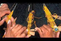 Плетение сетки с последующим ее заполнением