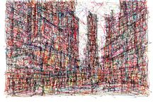 New York City Art / Impressionistist ink drawings of New York City.
