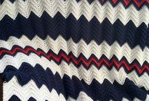 Red White & Navy  Crochet Afghan