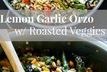 Lemon garlic orzo with roast vegables