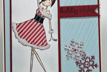 Xmas Character cards / Stamping bella, the Greeting Farm, Tiddly inks, Some odd Girl.