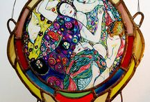 Gustav Klimt, Hand-Made Stained-Glass / This window-pane is handmade by time-honoured art technique when glass components are connected by lead sections.