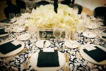 Intimate & Elegant Celebration / Ideas for Decor ~ Core Colors - Black & White with deep purples and /or dark greens.